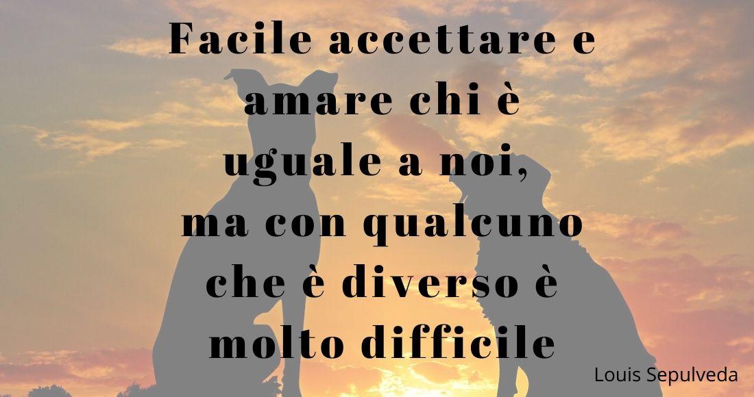 Facile accettare e amare chi è uguale a noi, ma con qualcuno che è diverso è molto difficile (cit. Luis Sepulveda)
